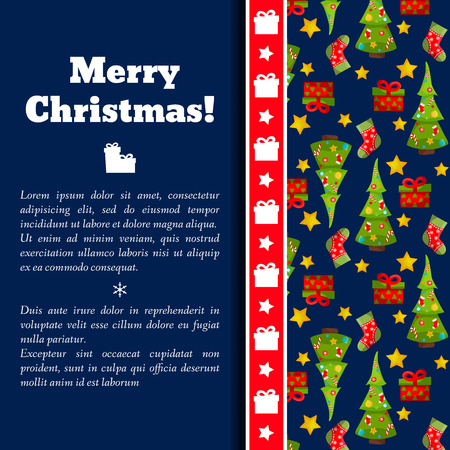 Happy new year and merry christmas holiday card with fir trees pattern on right side flat Archivio Fotografico - 112594345