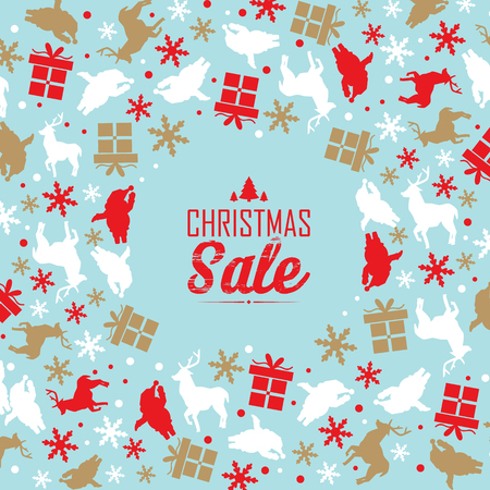 Christmas sale poster with text about discounts and decorative traditional symbols such as snowflake Stockfoto - 112594348
