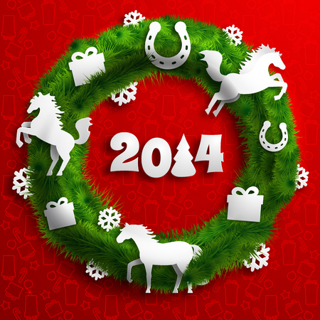 Merry Christmas template with green wreath paper horses presents snowflakes horseshoes on red icons background vector illustration Иллюстрация