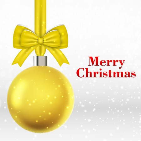 Merry holiday bright yellow christmas ball