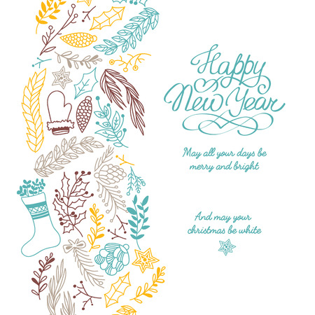 Christmas hand drawing colored greeting card with traditional festive attributes and happy new year wishing