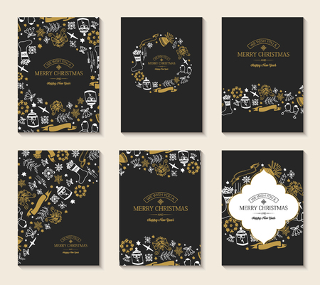 New Year festive brochures with greeting inscriptions and hand drawn Christmas elements on dark background vector illustration