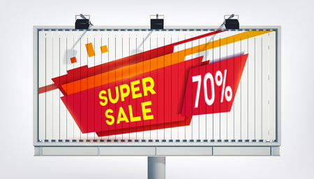 Big billboard sale banner with three lights, gigantic word super sale seventeen percent and in realistic style on the white background vector illustration