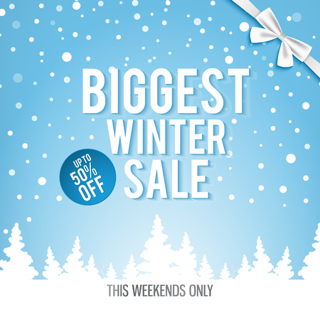 Christmas biggest winter sale poster with white words about the best discounts this weekends only with many winter snowflakes and decorative trees  on the blue background vector illustration.