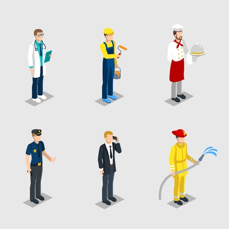 Isometric male characters professions set of doctor painter chef police officer businessman firefighter with professional equipment isolated vector illustration Illustration
