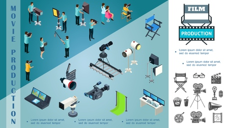 Isometric cinematography composition with film crew movie cameras projectors director chair megaphone clapperboard hromakey audio record equipment vector illustration Illustration