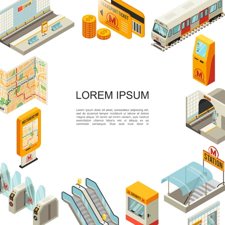 Isometric metro colorful template with subway station platform