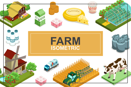 Isometric farming colorful concept with house windmill tractor greenhouse animals truck bales of hay dairy products vector illustration