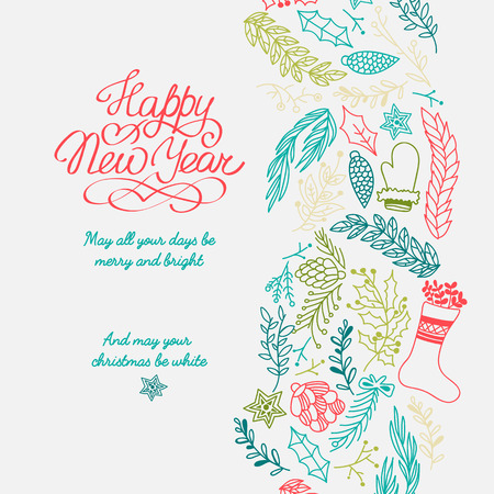 Happy new year design concept with greetings and colorful hand drawn branches on white background vector illustration