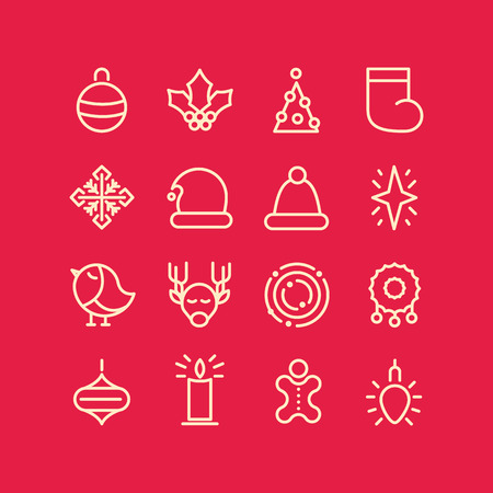 Christmas design stylish set decorative icons on red field such as sock bird garland snowflake star vector illustration