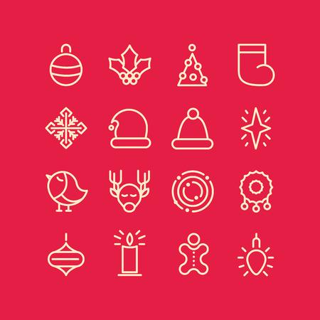 Kerst ontwerp stijlvolle set decoratieve pictogrammen op rood veld zoals sok vogel garland sneeuwvlok ster vectorillustratie Vector Illustratie