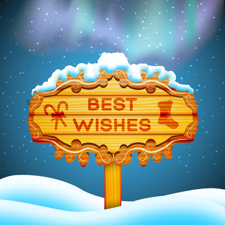 Best wishes wooden sign and santa claus flying in sky background concept flat vector illustration