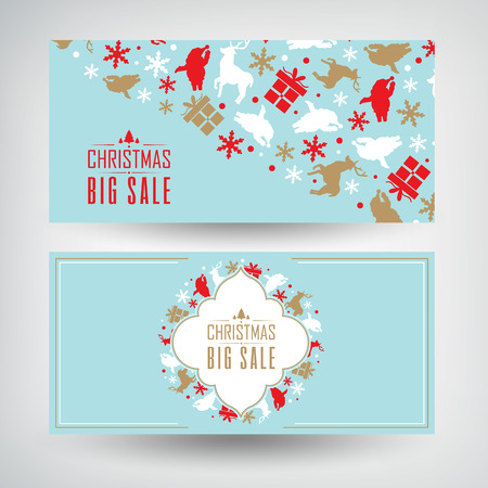 Vector set of two Christmas sale banners with information about discounts on the blue background decorated by the traditional objects and symbols vector illustration Archivio Fotografico - 127409736