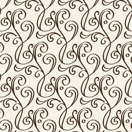 Decorative floral vintage seamless pattern formed from black monochrome lines in baroque style
