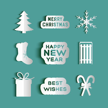 Christmas set of winter symbols icons in paper style flat isolated vector illustration
