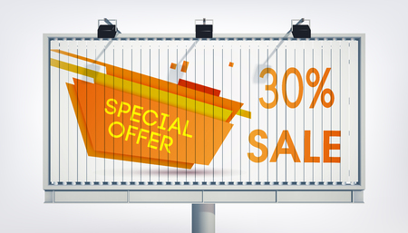 Big billboard sale banner with three lights, gigantic word special offer, thirteen percent and the orange trapeze in the realistic style on the white background vector illustration Ilustração