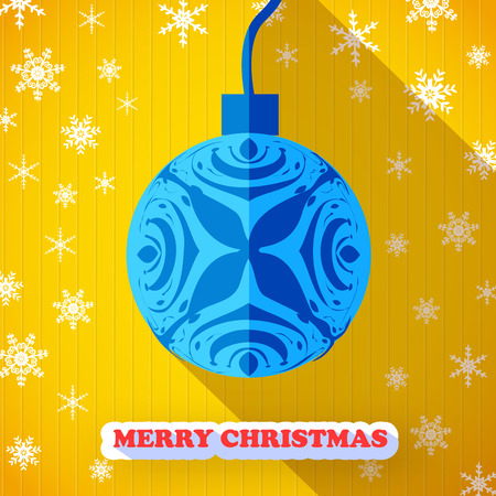 Merry christmas postcard without text and one big blue christmas ball with design flowers and leaves Illustration