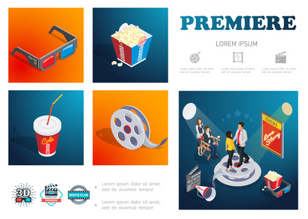 Isometric cinema infographic concept with 3d glasses popcorn soda film reel movie director actors megaphone clapper board