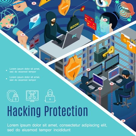 Hacking security and protection template with antivirus passwords bio metric authorization in isometric style Illustration
