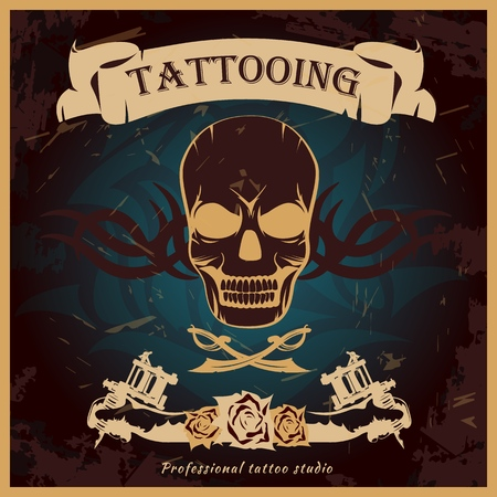 Colorful tattoo poster with terrifying skull swords and floral patterns on black Иллюстрация