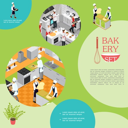 Isometric professional cooking in bakery concept with waiter chefs and assistants preparing different dishes