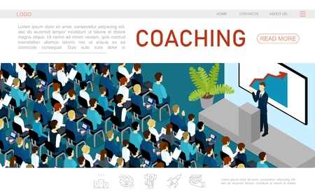 Isometric business conference web page template with business man speaking to audience from tribune vector illustration