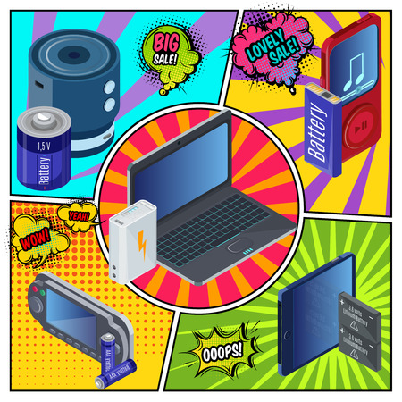 Modern devices and chargers template with isometric batteries power bank audio player laptop game console tablet on comic backgrounds vector illustration