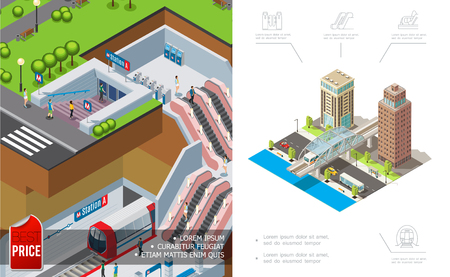 Isometric city metro concept with modern buildings and vehicles moving on road