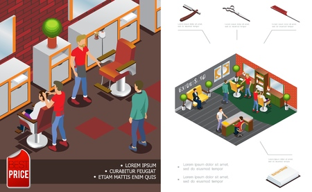 Isometric trendy barber shop concept with hairdressers clients salon interior elements reception scissors comb razor towels