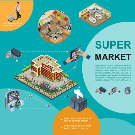 Isometric modern supermarket template with shopping center building parking people buying products in hall security video surveillance system Çizim