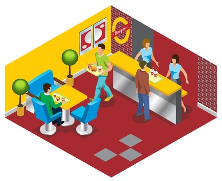 Isometric fast food restaurant concept with workers people buying and eating burgers soda salad french fries isolated vector illustration