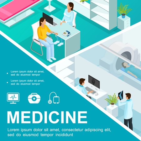 Isometric healthcare colorful concept with medical consultation and magnetic resonance imaging scan Illustration