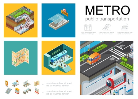 Isometric metro infographic concept with subway station platform  entrance passengers train navigation map ticket booth