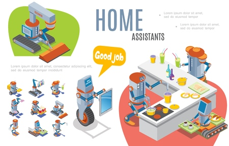 Artificial intelligence infographic concept with robotic bartender cleaner courier postman waiter home assistants robots Illustration