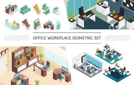 Isometric office interiors collection with variations of workplaces furniture