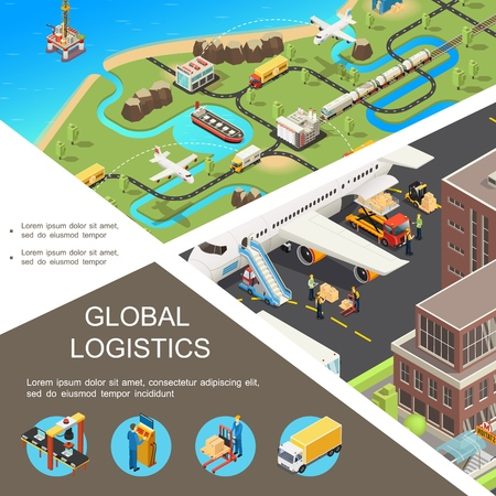 Isometric global logistics poster with international transportation network airplane train trucks ship plane loading process assembly line warehouse workers vector illustration Illustration