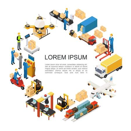 Concept rond de logistique globale isométrique avec l'assemblage de chariots élévateurs de transport de camion de train d'avion de drone et les lignes d'emballage pesant les processus de chargement les employés d'entrepôt illustration vectorielle Vecteurs