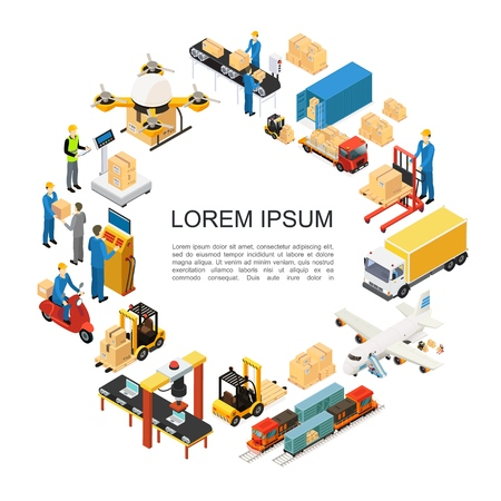 Isometric global logistics round concept with drone airplane train truck transportation forklift assembly and packaging lines weighing loading processes warehouse workers vector illustration