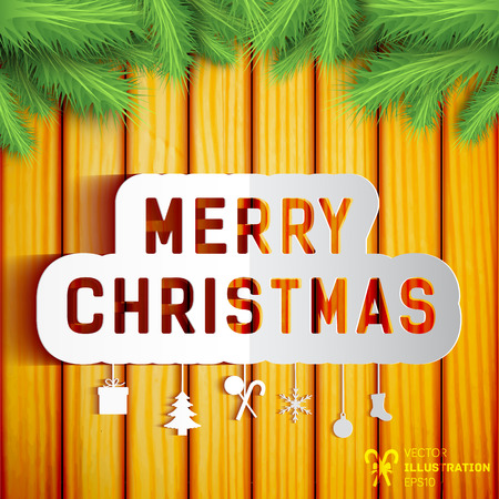 Merry christmas concept with winter symbols on wooden wall decorated with fir tree branches flat vector illustration