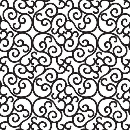 Monochrome black seamless pattern with repeating abstract structure in minimalistic style on white background vector illustration 矢量图像