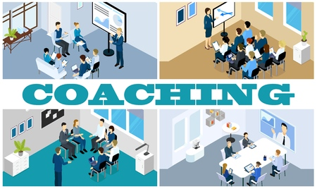 Isometric coaching and training composition with staff take part in seminar online conference business meeting and presentation