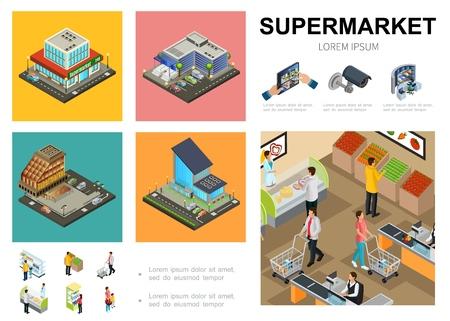 Modèle d'infographie de supermarché isométrique avec système de surveillance vidéo extérieur de centre commercial Vecteurs