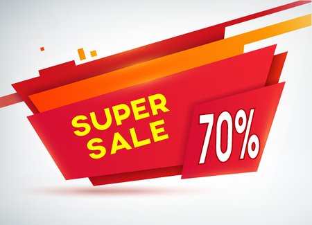 Red sale shopping poster with discounts percentage and information about super sale on the grey background vector illustration