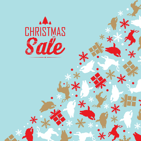 Christmas sale decorative poster divided on two parts with text about discounts and traditional symbols Illustration