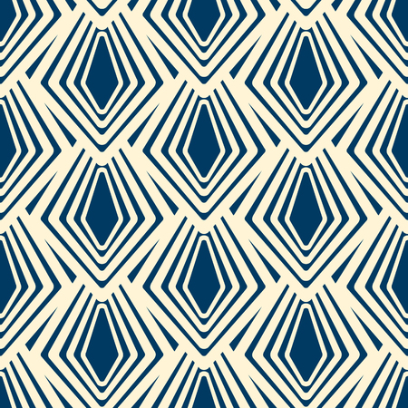 Modern seamless ornament in geometrical style with repeating striped rhombus as abstract flakes Ilustrace