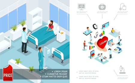 Isometric medical care concept with doctor visiting patient in hospital room and digital medicine elements vector illustration Иллюстрация