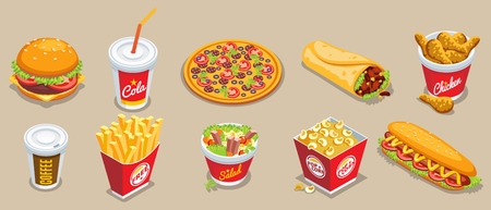 Isometric fast food elements set with hamburger cola pizza doner kebab chicken coffee french fries salad popcorn hot dog isolated vector illustration