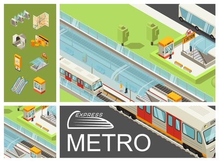 Isometric metro colorful composition with subway station passengers trains bus ticket booth travel cards map escalator tunnel Illustration