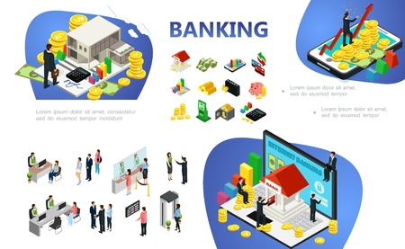 Isometric banking composition with financial elements and objects businessmen online payments clients bank employees vector illustration Standard-Bild - 127103186