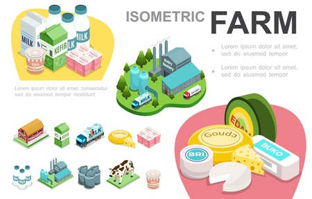 Isometric dairy industry infographic concept with factory cheese sour cream milk truck yogurt Foto de archivo - 113457709